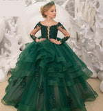 Luxury Green Lace Flower Girl Tiered Ball Gown Pageant Dress