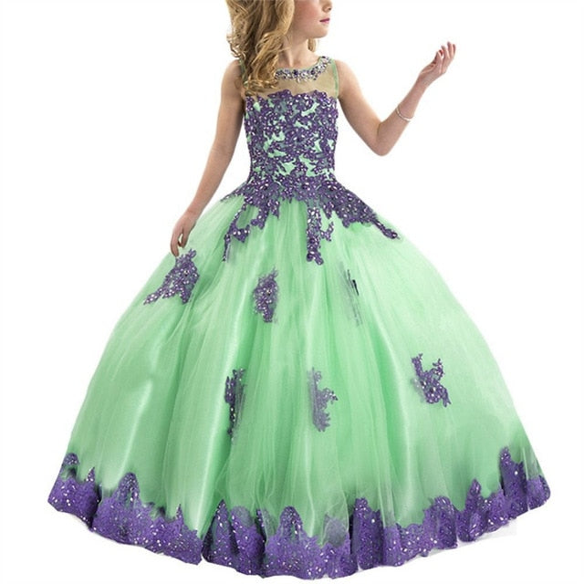 Sleeveless Flower Girl Pageant Princess Ball Gown in 3 Color Styles