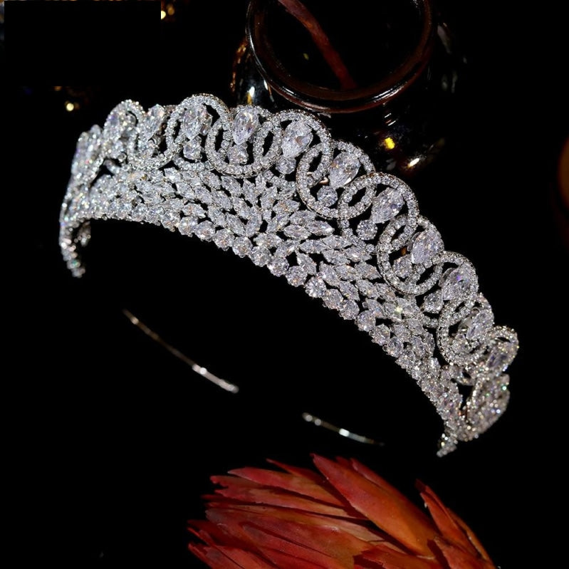 Luxury Baroque Sparkling Crystal Zircon Pageant Bridal Crown  Hair Accessory