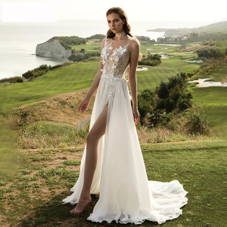 Boho Lace Apliques Wedding Dress High Slit 3D Flower  Beach Chiffon A-Line Bridal Gown