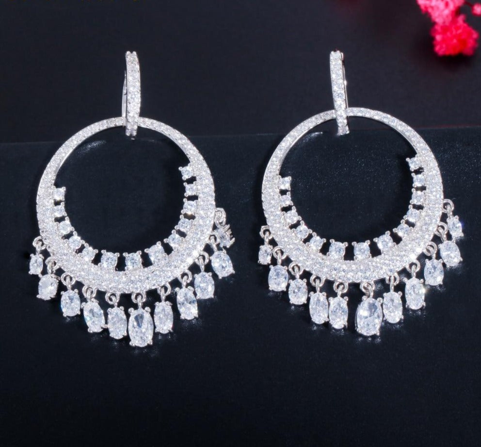 Cubic Zirconia Tassel Long Huggie Hoop Dangle Drop Earrings