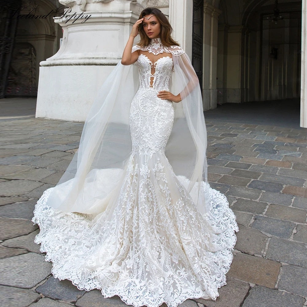 Lace Mermaid Sleeveless Vestido de Novia Wedding Bridal Dress with Cape