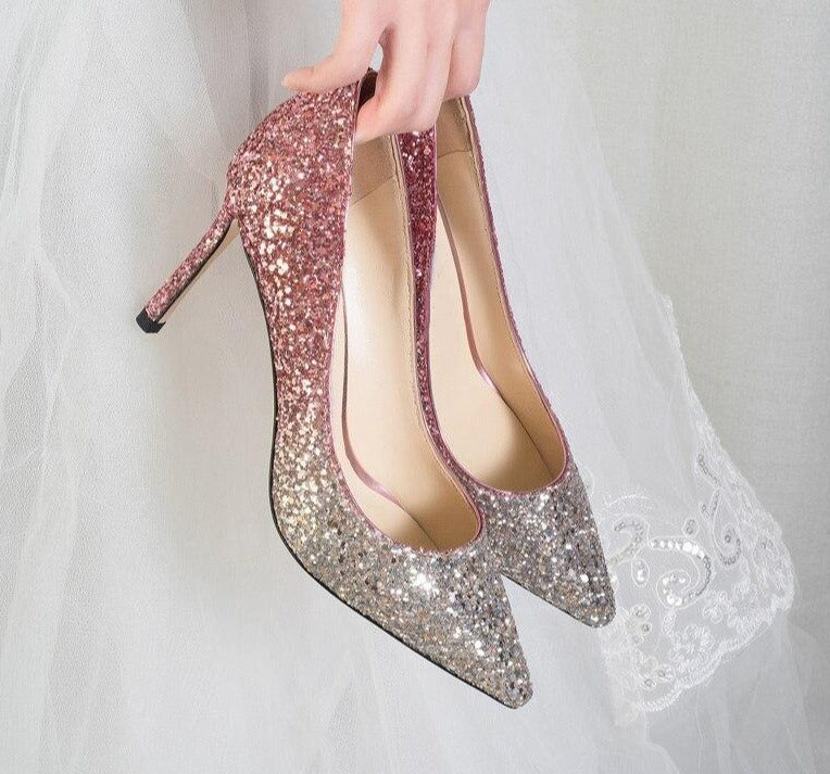 Gradient Sequined Shiny Pointed High Heel Bridal Shoes - TulleLux Bridal Crowns &  Accessories