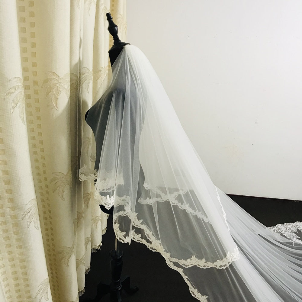 Lace Applique 2 Layer Edge Long Cathedral Bridal Wedding Veil