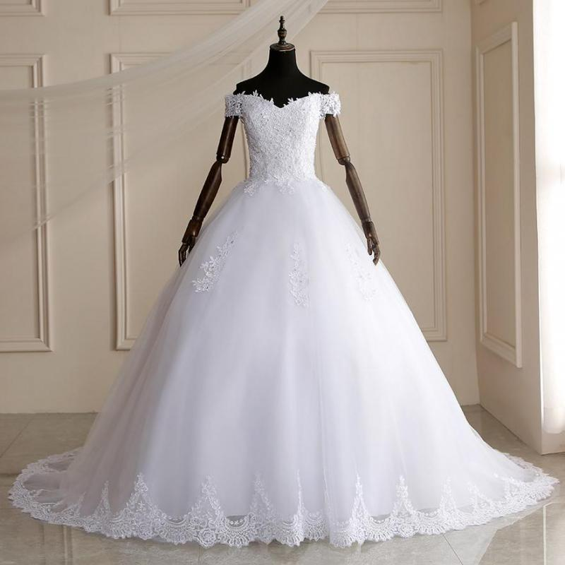 Elegant Beading Lace Court Train Ball Wedding Gown