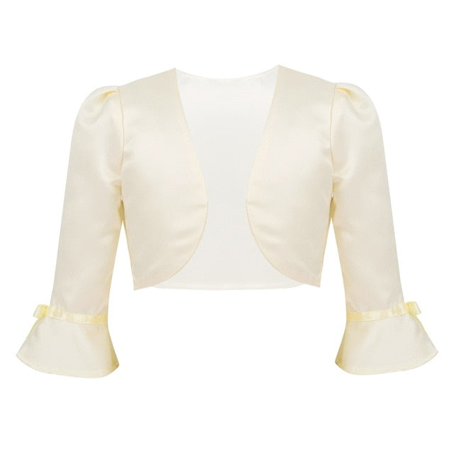 Flower Girls 3/4 Flare Sleeve Open Front Satin Bolero  Short Jacket Shrug - TulleLux Bridal Crowns &  Accessories