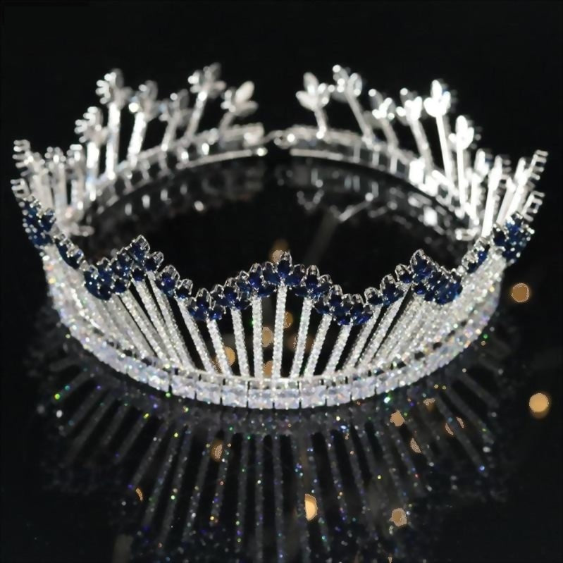 Full Cubic Zirconia Luxury Large Round Princess Tall Tiara Wedding Bridal Pageant  Crown Headpiece - TulleLux Bridal Crowns &  Accessories