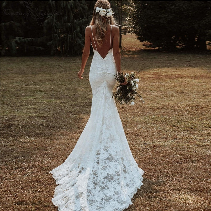 Boho Mermaid Wedding Dress with Spaghetti Straps Backless Sexy Beach Bohemian Bridal Gown