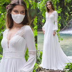 Vintage Long Puff Sleeves Boho Wedding Dress Lace and Chiffon A Line Bride Gown