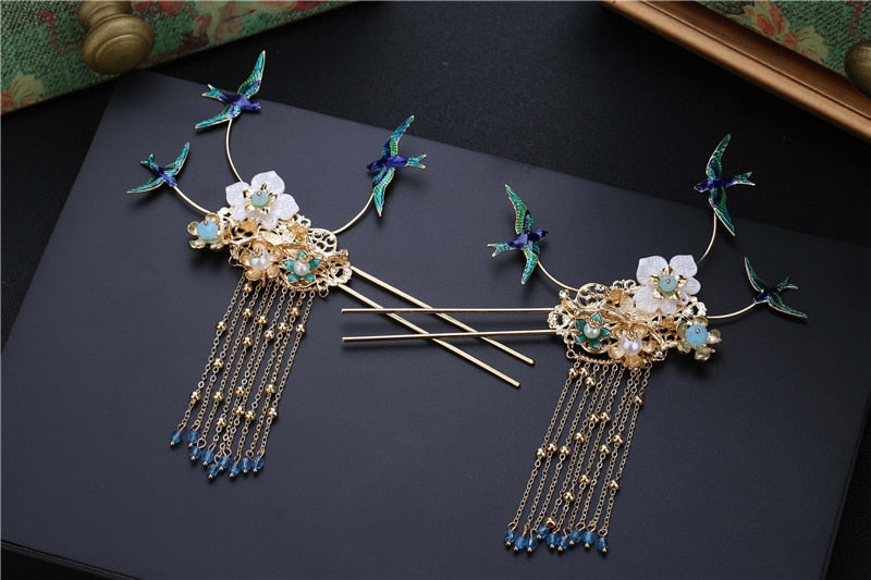 Retro Style Blue Bird Tassels Dragon and Phoenix Tiara Headdress - TulleLux Bridal Crowns &  Accessories