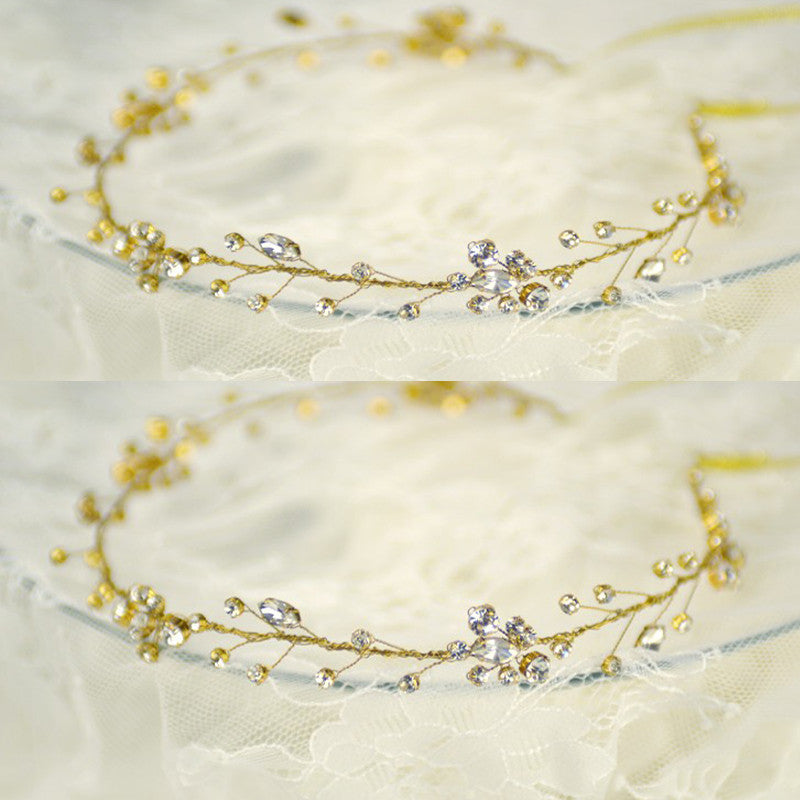 Tiara Crystal Bridal Wedding Crown Headdress Headband White Wedding Hair Accessory