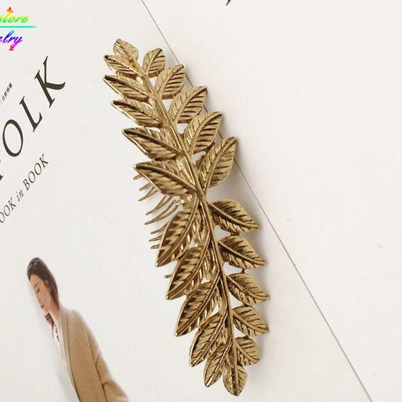 Vintage Gold or Silver Plated Leaves Bun Top Hair Comb Wedding Hair Accessories