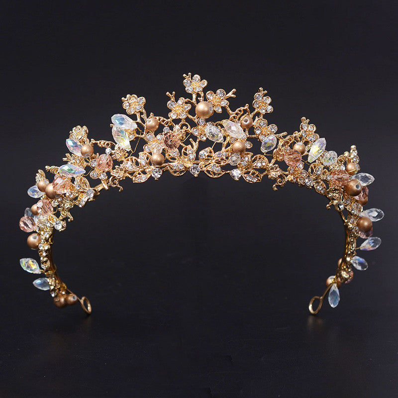 Gold Flower Crystal Bridal Wedding Tiara Crown