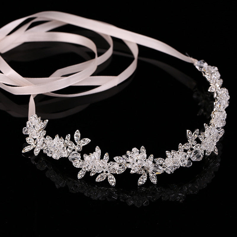 Transparent Crystal Bridal Tiaras Headband Bridal Wreath Wedding Flower Headdress Ornament - TulleLux Bridal Crowns &  Accessories