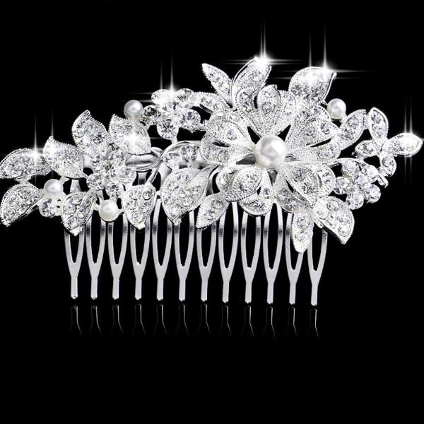 Leaf Crystal Bridal Wedding Jewelry Hair Accessories Hair Combs - TulleLux Bridal Crowns &  Accessories