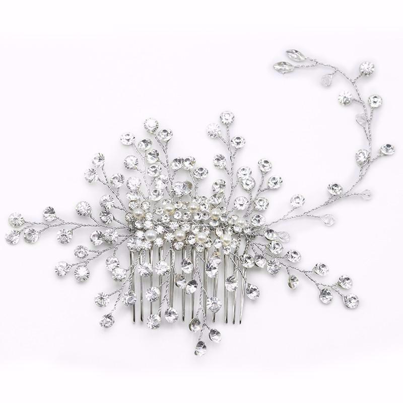 1pc Crystal Twig Style Hair Comb Beautiful Women Hair Accessories - TulleLux Bridal Crowns &  Accessories