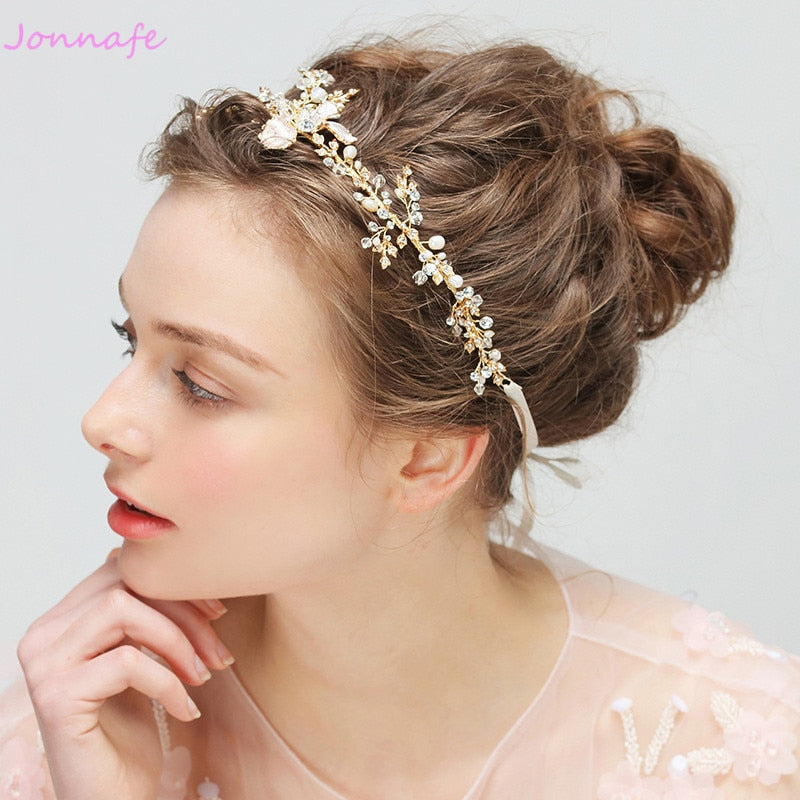 Gold Boho Leaf Hair Crown Wedding Headband Rhinestone Bridal Hair Vine Accessory