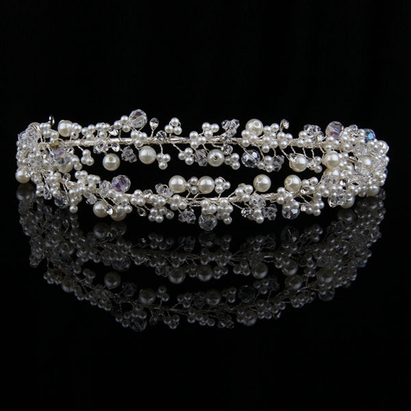 Baroque Style Bridal Crystal Pearl Flower Rhinestone Wedding Hair Accessories Silver Headband