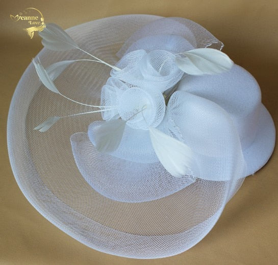 Vintage Net Bridal Hat Wedding Brides Fascinator