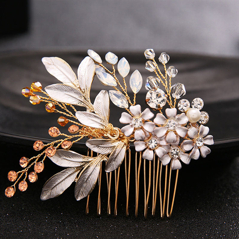 Gold Hair Comb Hair Crystal Flower Hair Accessories