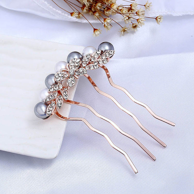 Rose Gold Wedding Hair Combs Full Crystal Butterfly  Wedding Bridal Hair Jewelry Accessories