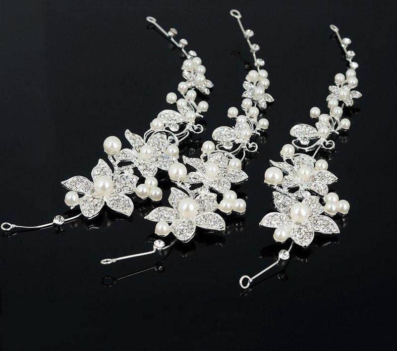 1 Piece Wedding Hair Accessories Clips Simulated Pearl Crystal Flower HairPin Hair Comb Bride