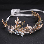 Champagne Crystal Bead Flower Bride Headband Hair Comb Princess Wedding Accessory