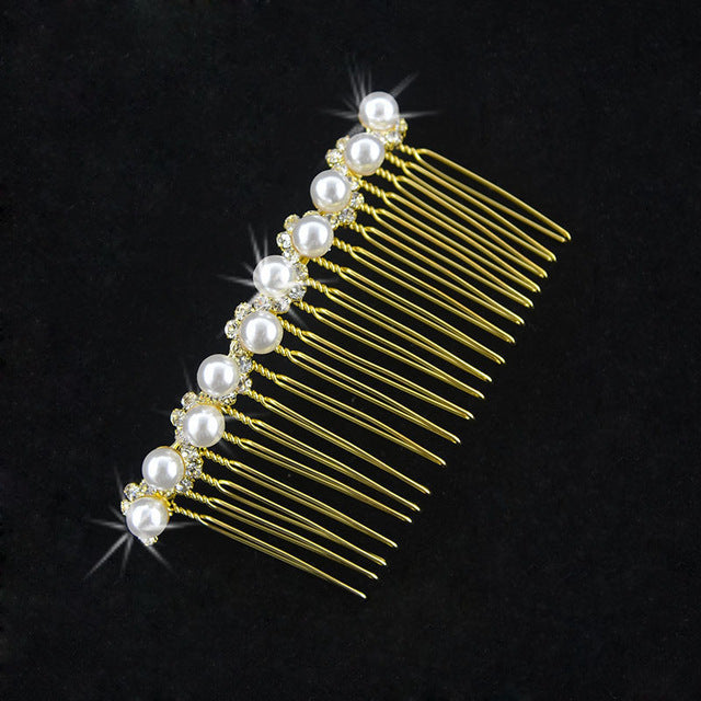 Gold Silver Color Hair Combs Bridal Pearl Crystal Bridesmaid  Wedding