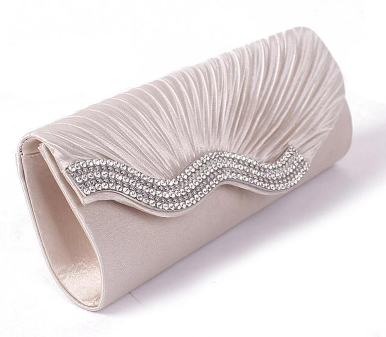 Satin Evening Hand Bag Wedding  Bridal Party Purse  Clutch Vintage Handbag