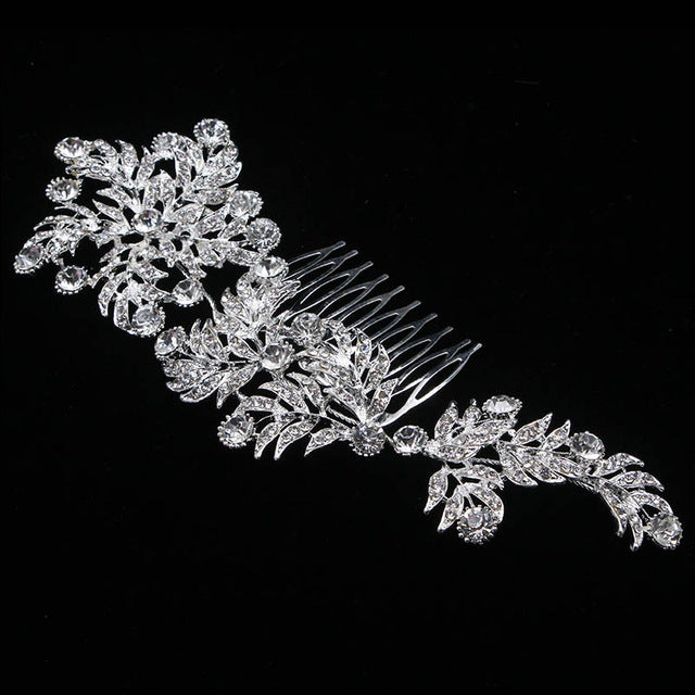 Crystal Bridal Hair Comb Large Leaf Shape Headpiece Rhinestone Wedding