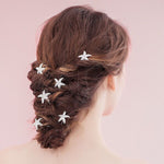 Silver Plated Bride Starfish Crystal Hair Pins Bridesmaid Jewelry Head Wear Accessories