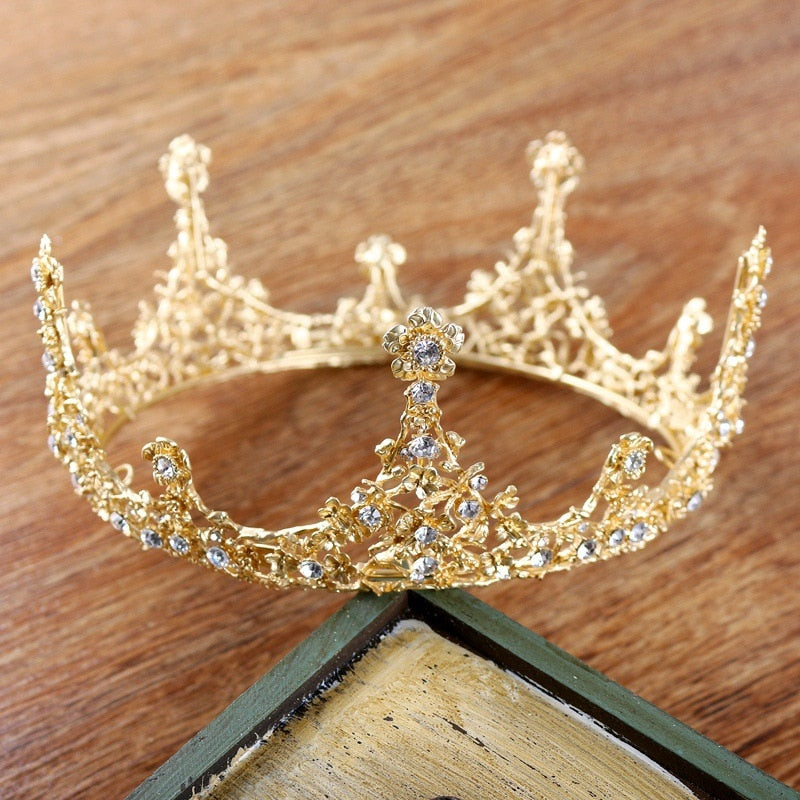 Luxury Gold Leaf Noble Round Queen Tiara Austria Rhinestone Crown