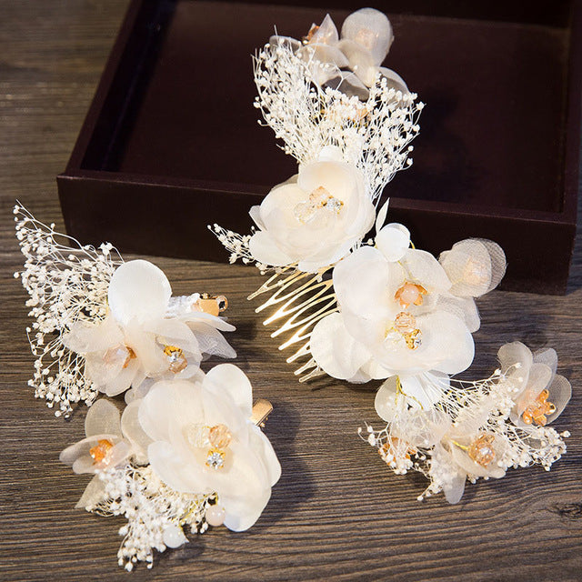 Romantic Wedding Hair Accessories  Flowers Hair Comb With Crystal Hairpins Set