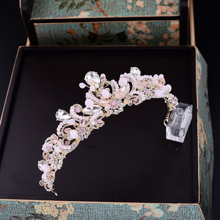 Baroque Pink Crystal Bridal Crown Vintage Wedding Hair Accessories
