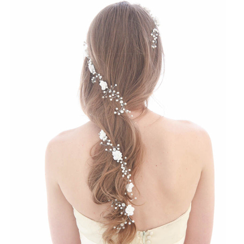 Long Bridal Wedding Hair Vine Crown Jewelry Simulated Pearl Crystal Flower Rhinestone Tiaras Hair Crown Accessory