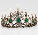 Vintage Beauty Bead Hollow Flower Tiaras   Ethnic Wedding Crown