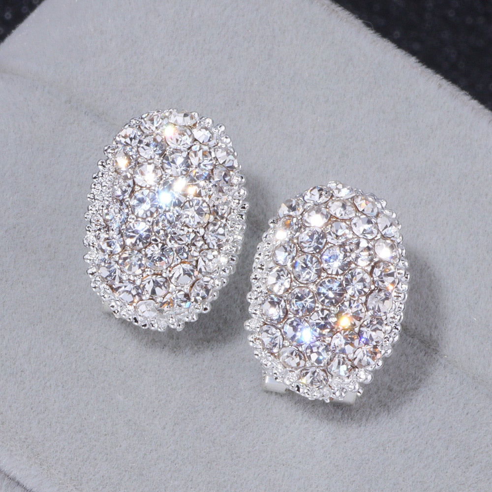 Classic Design Romantic Jewelry Silver Color AAA Cubic Zirconia Stone Stud Earrings Elegant Wedding Jewelry
