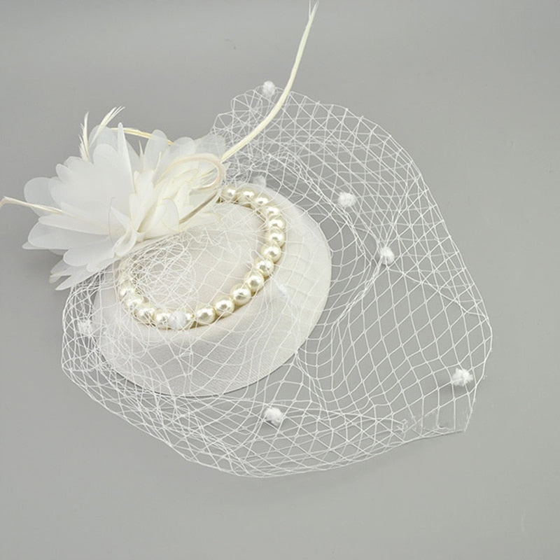 Net Feather Hats White Red Black Birdcage Wedding Bridal Pearl Fascinator