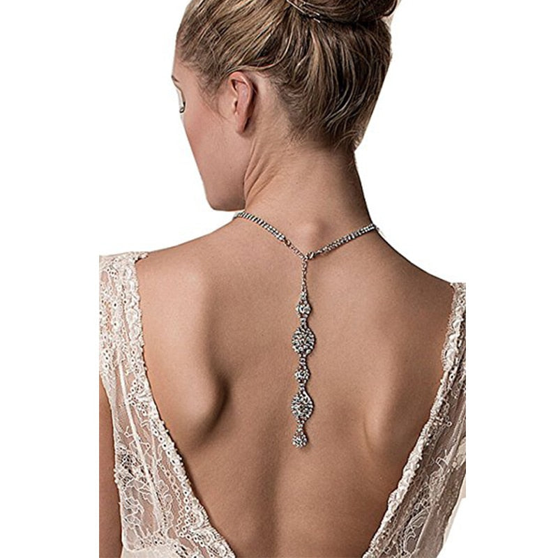 Back Drop Crystal Necklace Wedding Jewelry Linked Statement Fashion Collar  Choker