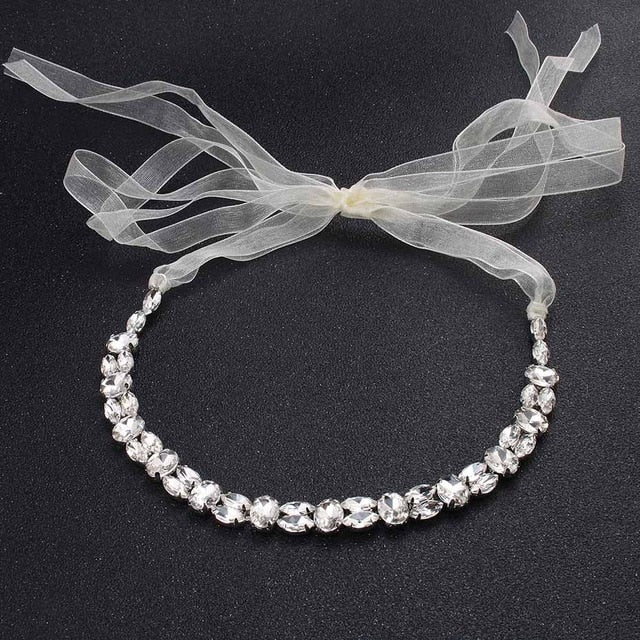 Austrian Crystal Head Chains Wedding Hair Jewelry Headband Bridal Band