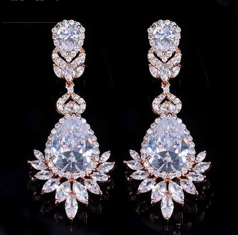 AAA Cubic Zirconia Rose Gold Long Dangle Drop Bridal Wedding Earrings Jewelry