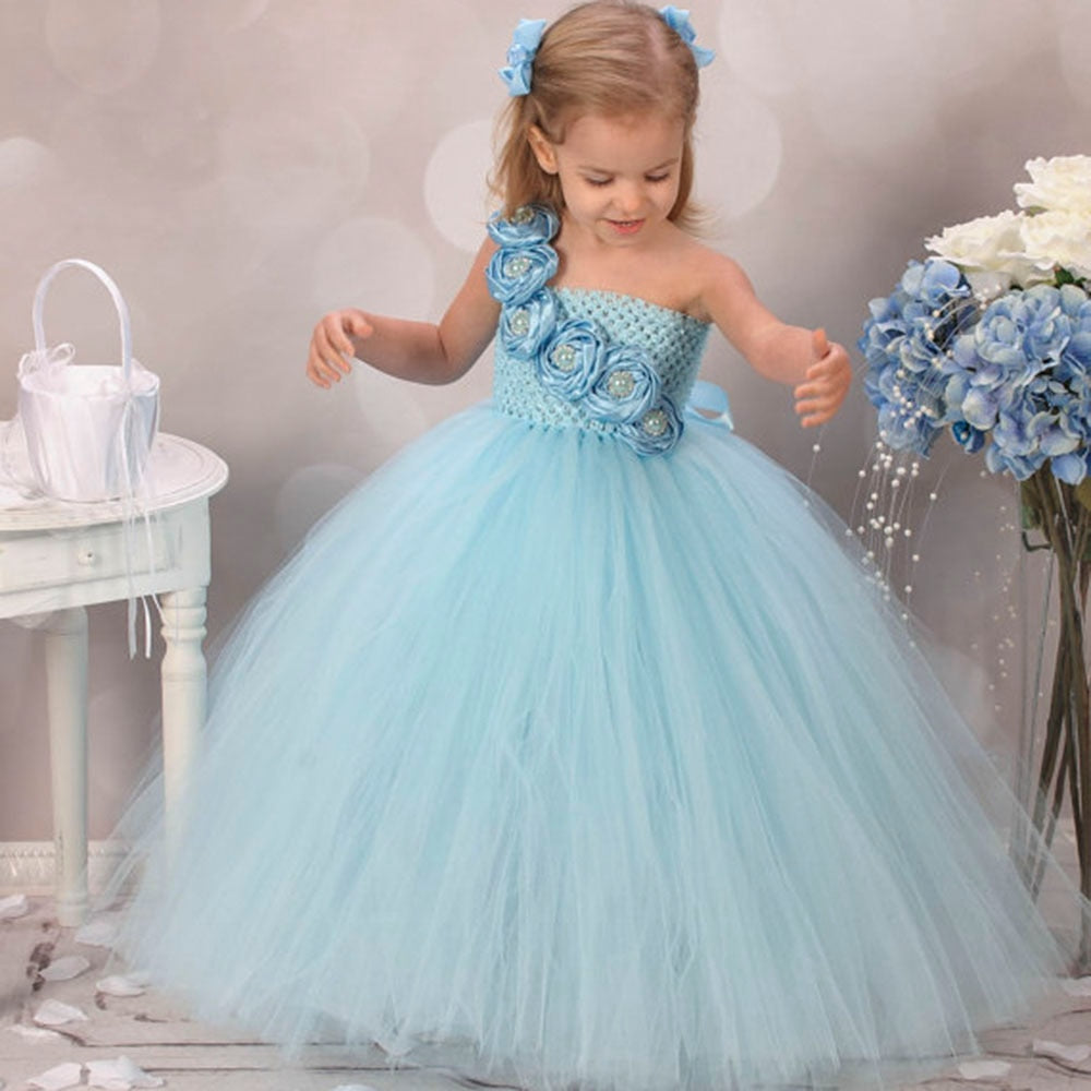 Girls Flower Tulle Tutu Dress for Birthdays, Weddings, Performance in 4 Colors