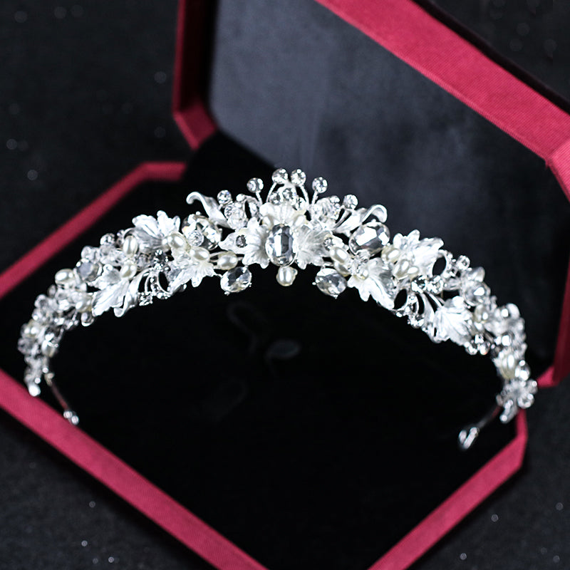 Rhinestone Pearl Flower Bridal Tiara Headband Crystal Diadem Crown Wedding Hair Accessories
