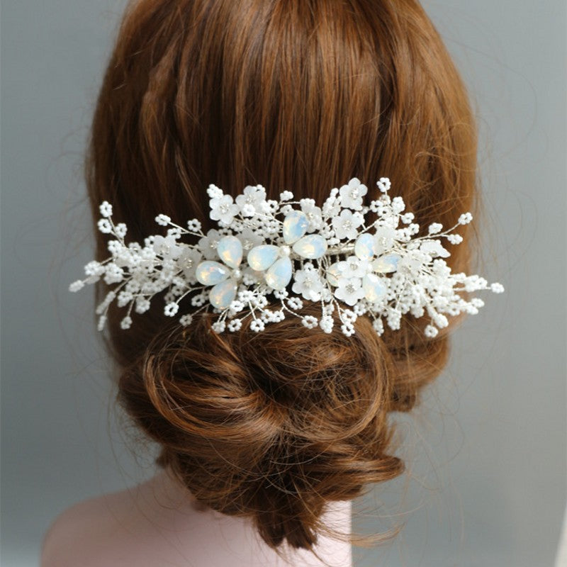 Bridal Silver Hair Piece Comb Floral Wedding Accessories