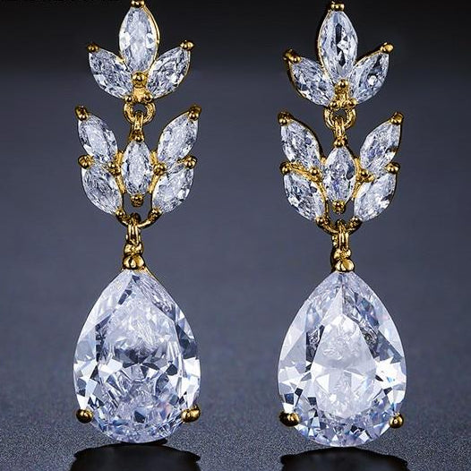 Romantic Bridal Wedding  Jewelry Exquisite Cubic Zircon Dangle Earrings in 6 Colors