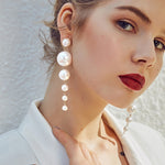 Big Simulated Pearl Long  Drop Earrings Elegant Pearls String
