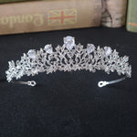 Luxury Wedding Bride Hair Jewelry CZ Headdress  Tiara Cubic Zirconia Headpiece Zircon Jewelry