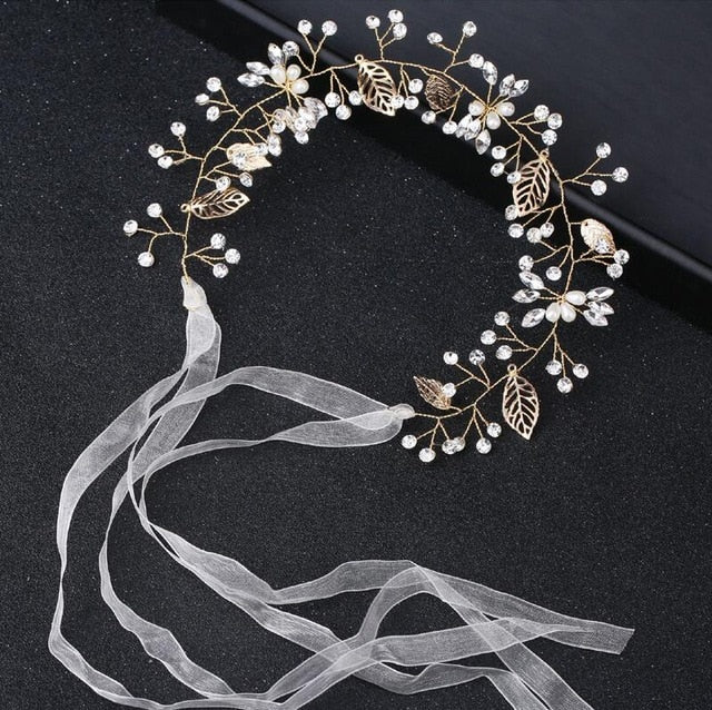 Crystal Rhinestone Bridal Headpieces Satin Ribbon Wedding Hair Accessories for Brides Tiaras Crowns Headbands
