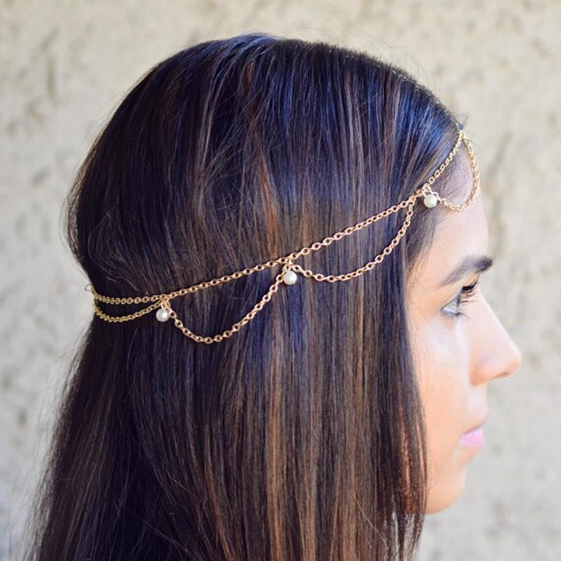 Pearls Head Chain Hair Jewelry Indian Boho Trendy Bride Hair Accessory