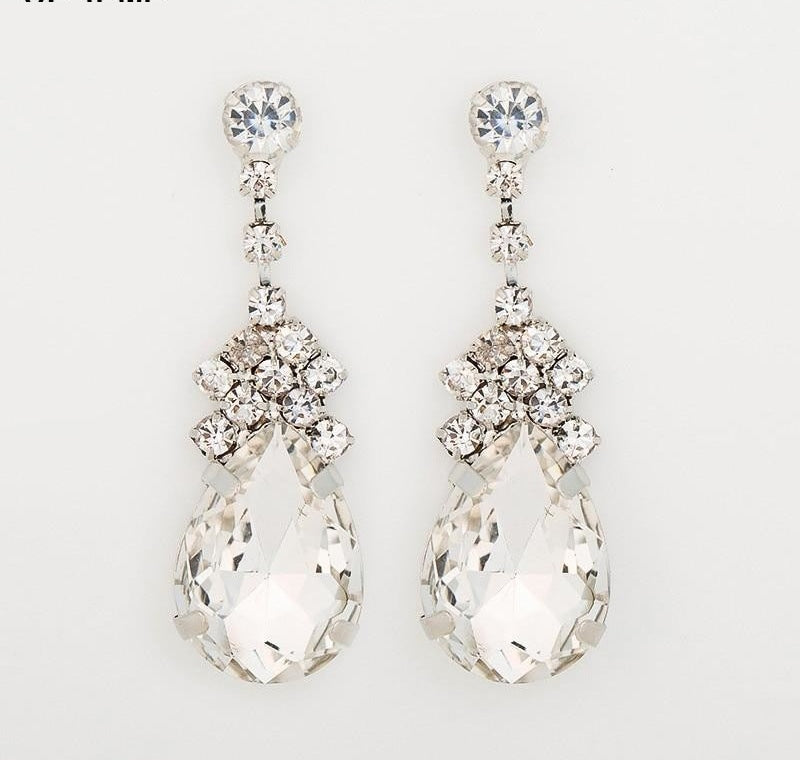 Cubic Zirconia Drop Earrings With Tiny CZ Luxury Bridal Wedding Earrings Rhodium Plated